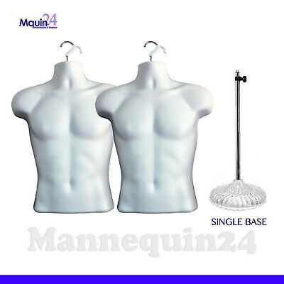 2 Mannequin Male Torsos 1 Acrylic Stand 2 Hangers - Mens Dress Forms