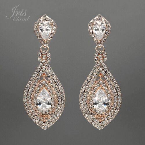 ROSE GOLD Plated Clear Crystal Rhinestone CZ Bridal Drop
