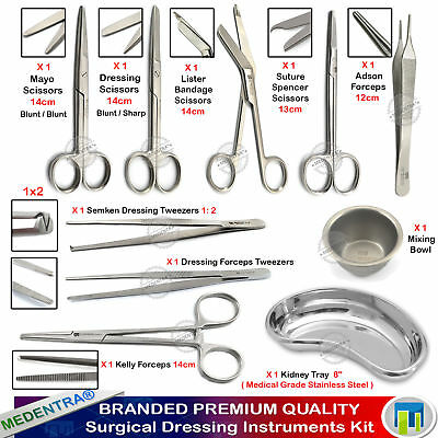 10pcs Dressing First Aid Nursing Instruments Kit Surgical Scissors Forceps Tray