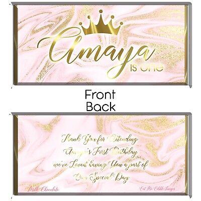 Pink & Gold Personalised Chocolate Wrapper Printable Digital - Print At Home