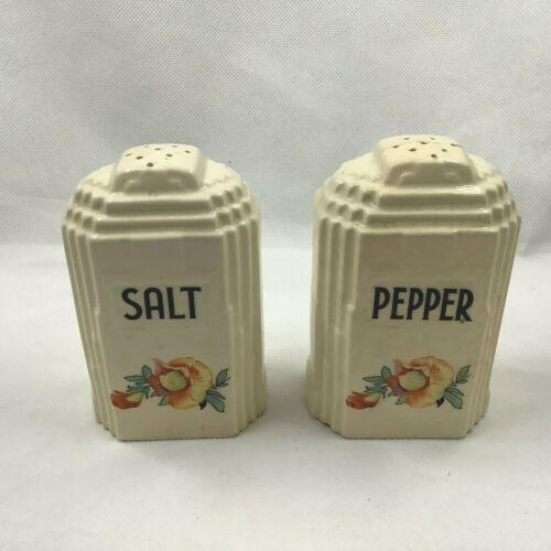 Empire State Building Salt & Pepper Shaker Flower Motif c1940 Porcelain Vintage