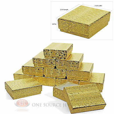 12 Gold Foil Cotton Filled Jewelry Gift Boxes 2 18 X 1 58 X 34 Charm Ring