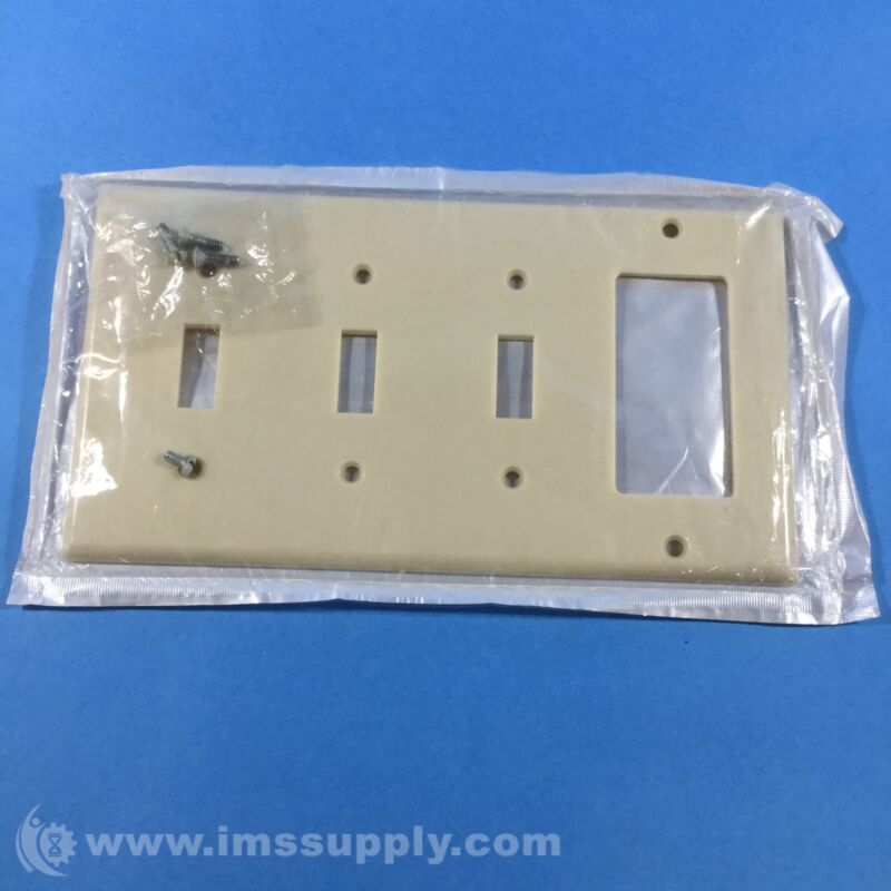 Leviton 001-P326-I Ivory 4 Gang Wallplate FNFP