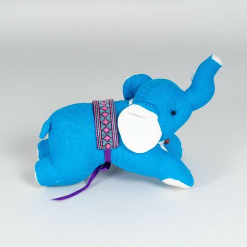 Handmade+Blue+Linen+Textile+Elephant+Handmade+Stuffed+Soft+Plush+Toy+New+%236265