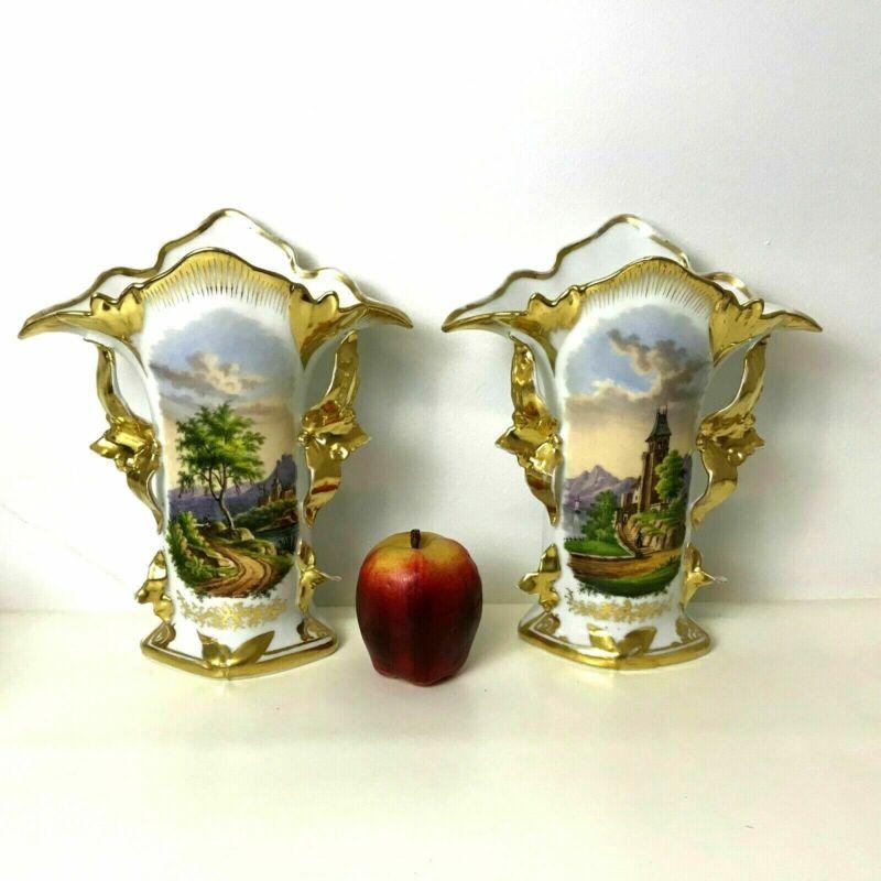 Pair of 19th Century Paris Porcelain Spill Vase Hand Painted Castle