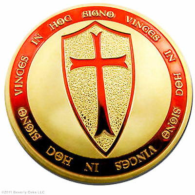 One Exclusive Troy Ounce Knights Templar Coin .999 24K Gold Layered Art Coin lot