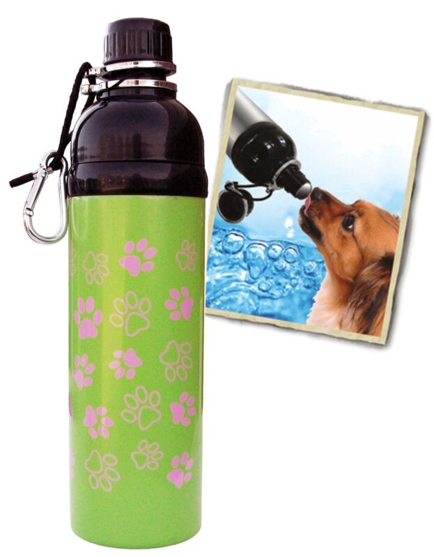 Bulk Lot 38 units - 24 oz. Pink Paws Stainless Steel Pet Dog Water Bottle