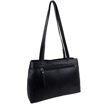 Damen Hochwertige Leder Schwarz Handtasche Marc Chantal von Gigi Schultergurt