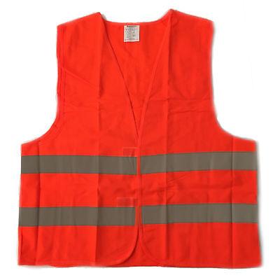 Xl Safe Vest High Visibility Orange Night Work Security Jacket Reflective Strips