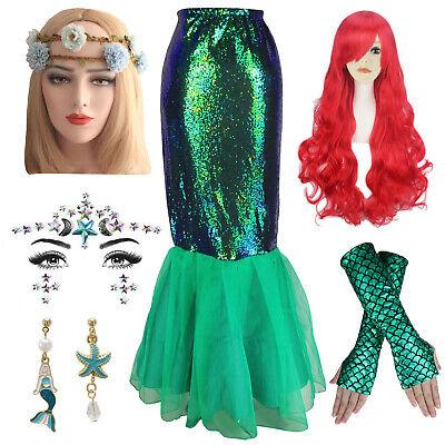 Mermaid Costume Accessories (Womens Halloween Cosplay Sequin Costume Mermaid Dress Skirt Accessories)