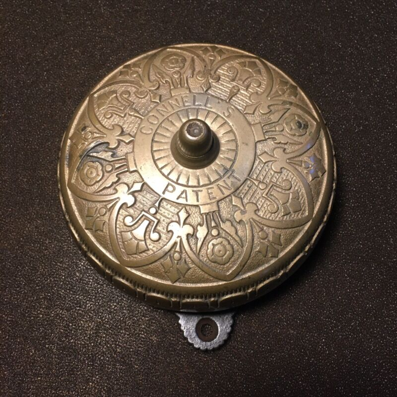 Antique Connell's Patent Eastlake Brass Door Bell  Restored Pat. Dated 1871