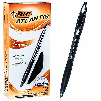 BIC Atlantis VCG11 14347, Black Ink 1.0mm Med Pt Retractable Pen, Box of 12 Pens