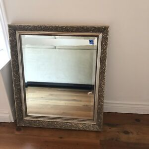 Antique farmhouse French style brass / gold mirror