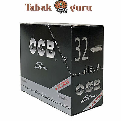 OCB Schwarz Premium Long Slim Tips 32 x 32 Blatt Tips Long Papers Blättchen