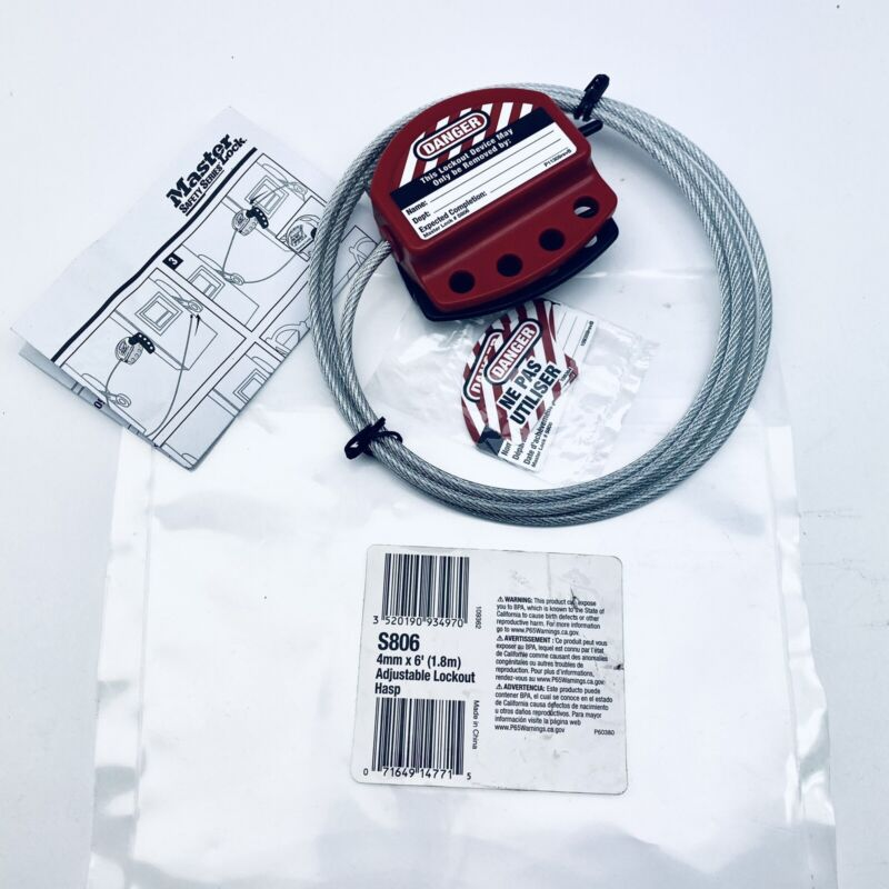 MASTER LOCK S806 ADJUSTABLE CABLE LOCKOUT 4mm X 6