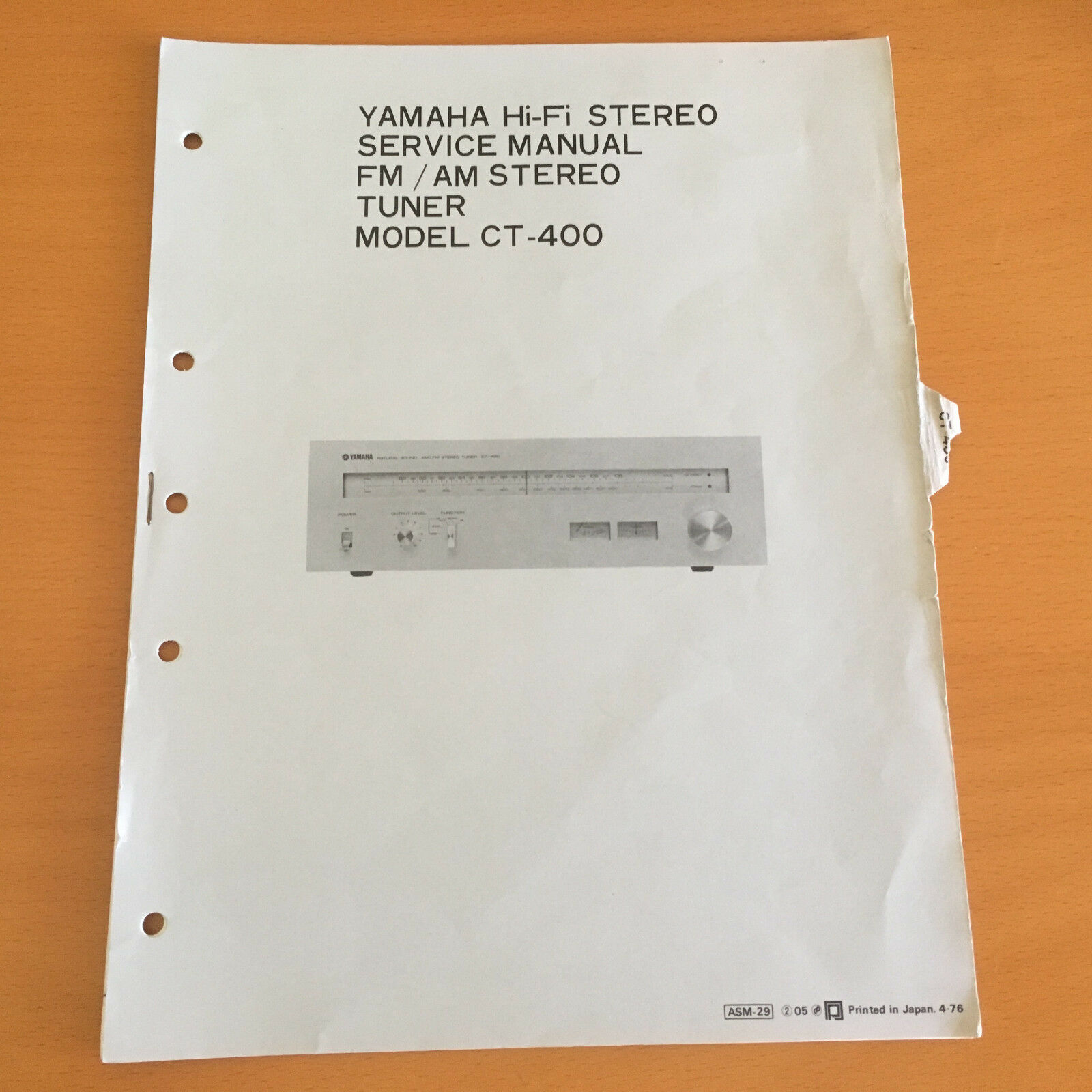 Yamaha CT-400 Tuner Repair Service Manual & Schematics Factory Original!  Rare