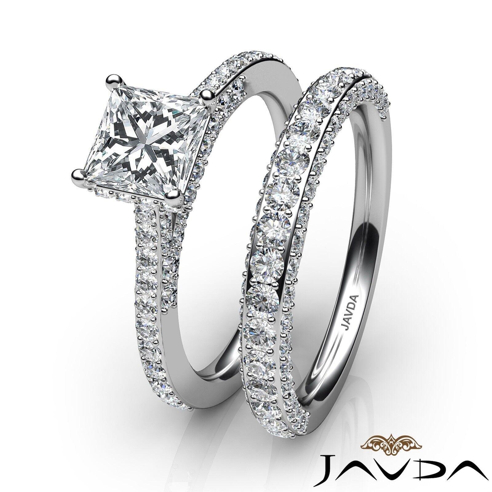 2.35ctw Circa Halo Pave Wedding Set Princess Diamond Engagement Ring GIA G-VVS1 3