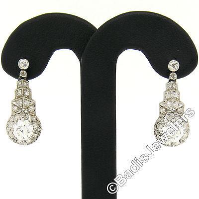 Antique Art Deco Platinum 2.01ctw Diamond Milgrain Filigree Step Dangle Earrings
