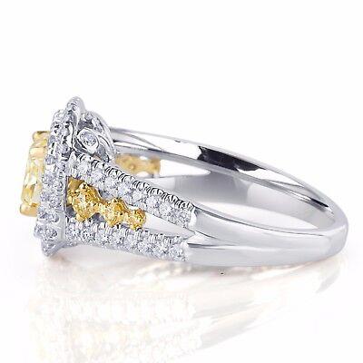 GIA Certified 2.04 Ct Cushion Cut Natural Yellow Diamond Engagement Ring 18k  1