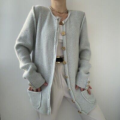 Iris von Arnim Cashmere Cardigan- Baby Blue Knit Gold Metal Button Sweater- Sz L