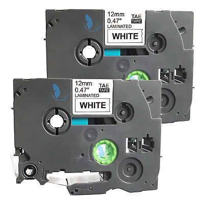 2 Compatible for Brother P-Touch TZE TZe-231 TZ 231 Label Tape - 12mm (BK+White)