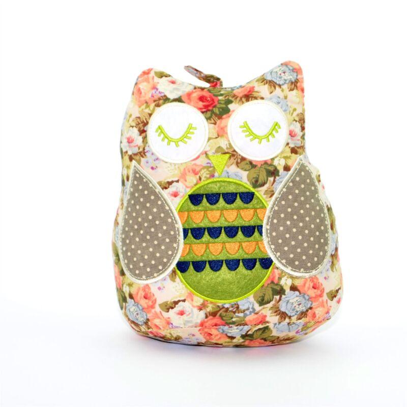 Pink Flowery Owl Weighted Door Stopper Fabric Doorstop Heavy Home Decor Gift
