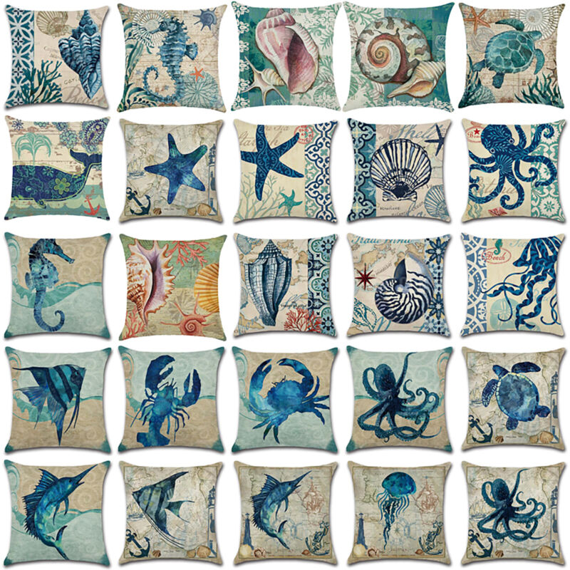nautical sea animal waist throw pillow case
