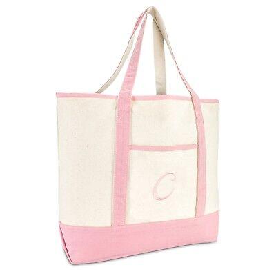 Monogrammed Canvas Tote (DALIX Women's Cotton Canvas Tote Bag Large Shoulder Bags Pink Monogram A -)