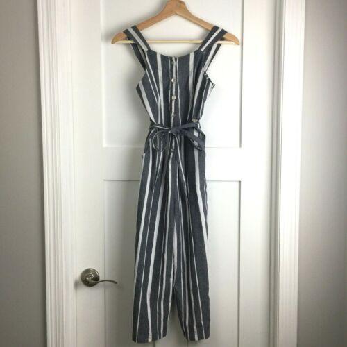 Bebe Girls Size 14 L Jumpsuit Sash Tie Button Front Pockets Blue White Stripe