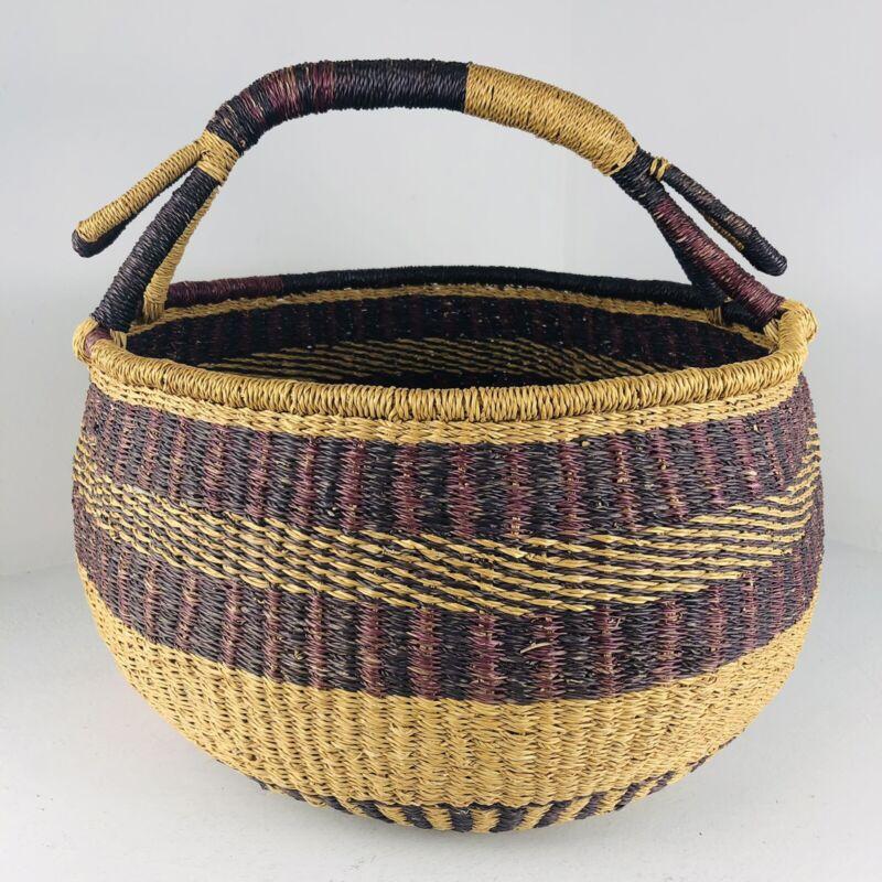 AFRICAN Hand Woven LARGE Market Pot Basket & Handle TRIBAL Folk Art