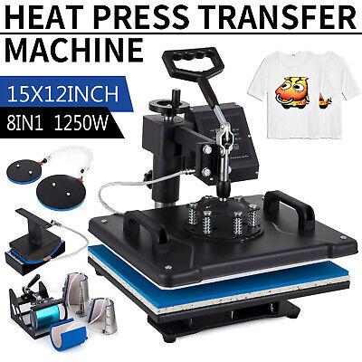 8 In 1 Digital Heat Press Machine Sublimation For T-shirtmugplate Hat Printer