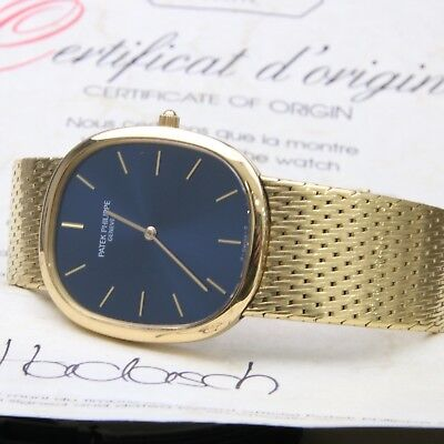 Patek Philippe 18k Yellow Gold 3938 / 001 Ellipse - Automatic With Papers - Blue