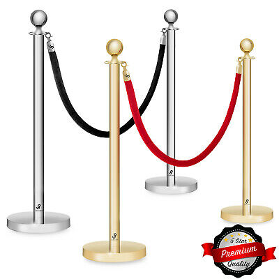 Set Of 2 Ball Top Stanchion Post 6.5 Velvet Rope Queue Crowd Control Barrier