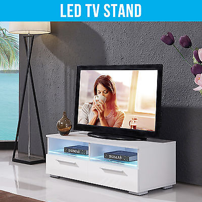 100cm High Gloss White RGB LED TV Stand Unit Cabinet Living Room Furniture