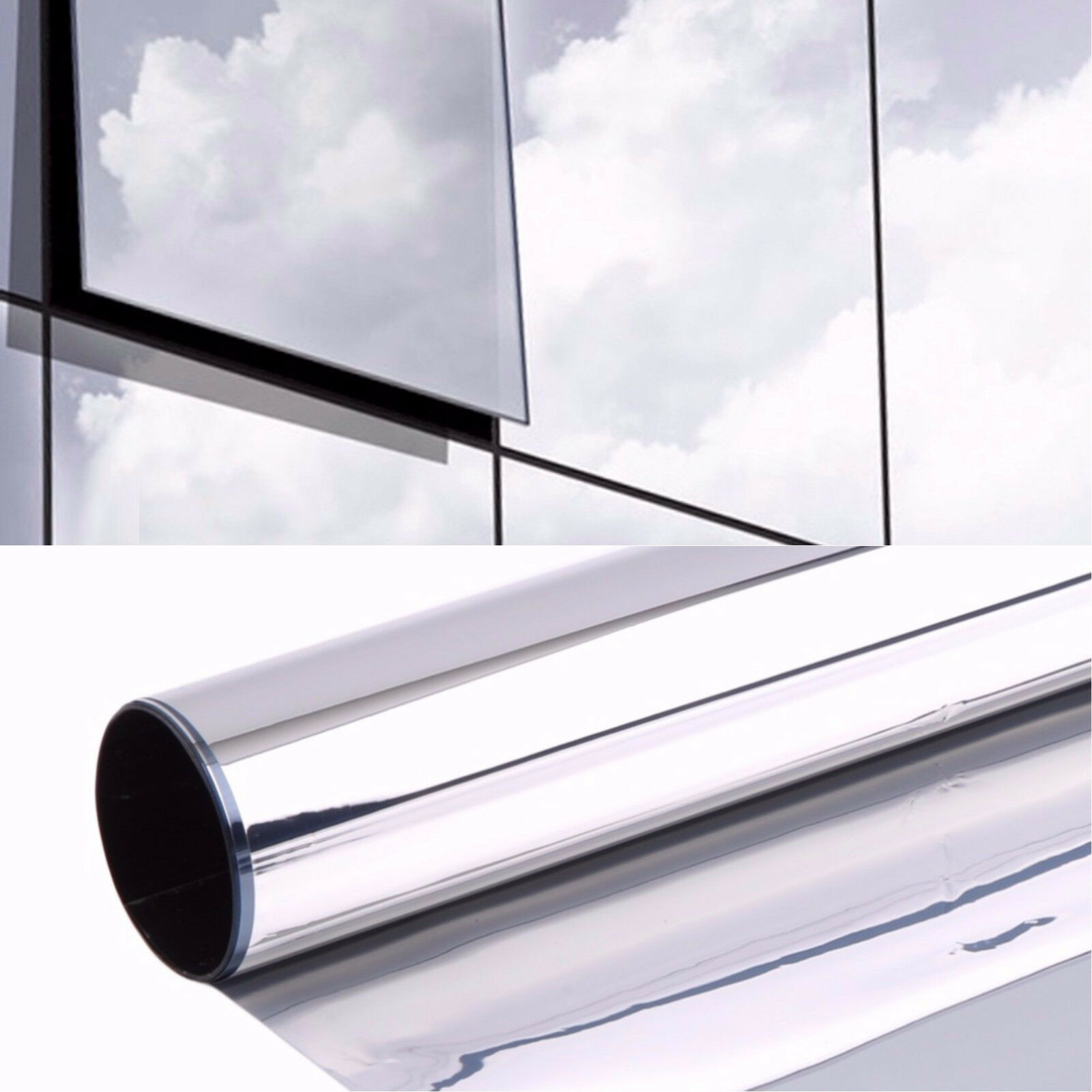 6,51€/m² Spiegelfolie Silber Fensterfolie Sichtschutzfolie Sonnenschutz Folie