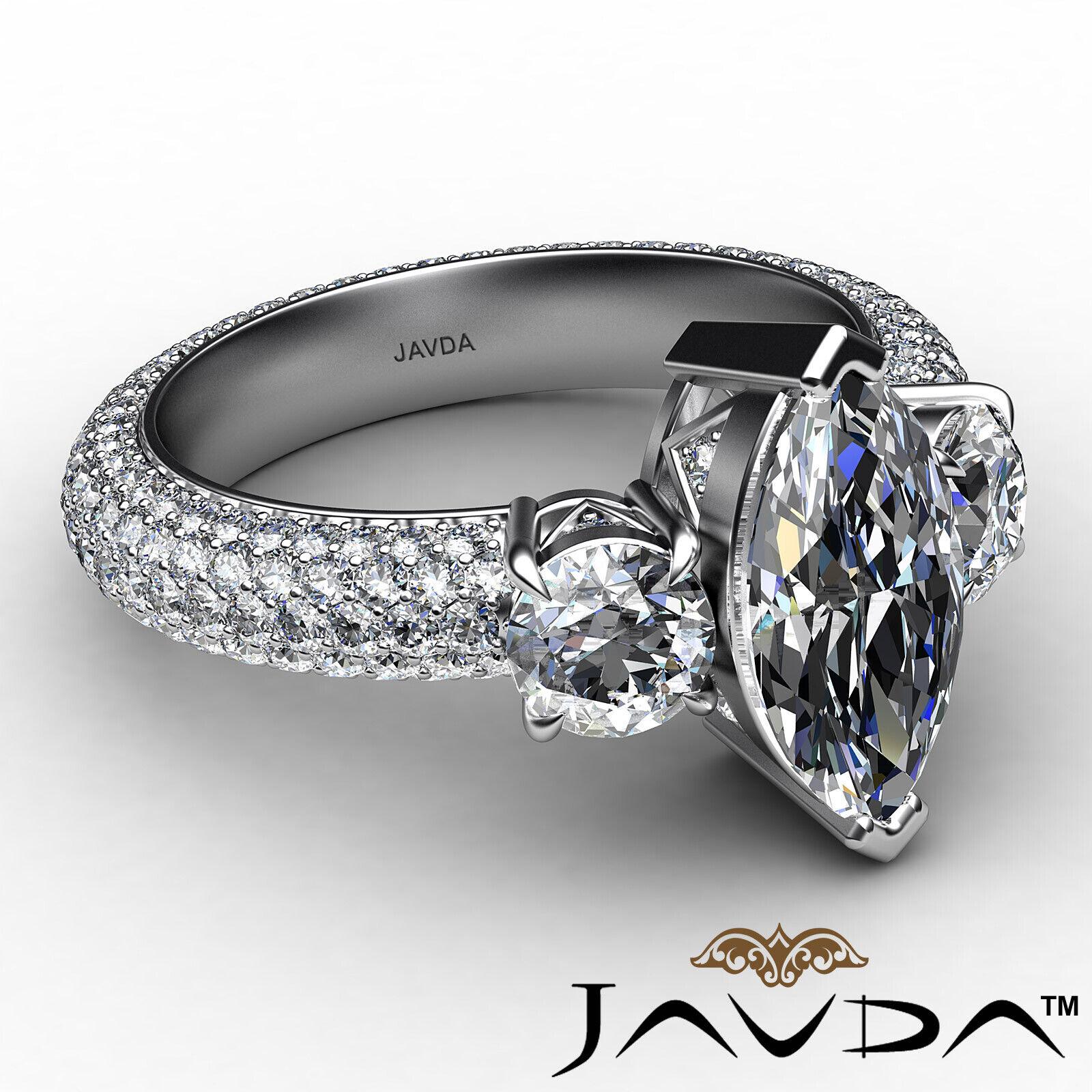 Marquise Diamond Engagement Pave Set Ring GIA K Color & VVS2 clarity 3.05 ctw 6