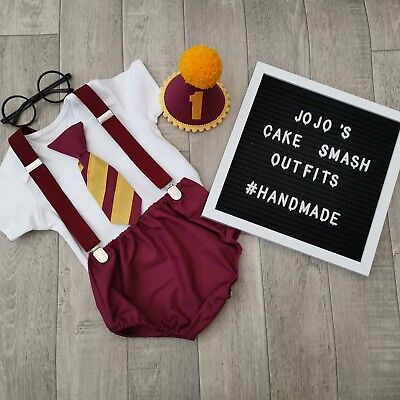 Harry Potter Themed Birthday Party (Harry Potter theme Baby Boys 1st Birthday Cake Smash Outfit.Handmade.Photo)