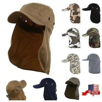( Baseball Cap Camping Hiking Fishing Ear Flap Sun Neck Cover Visor Camo Army Hat)