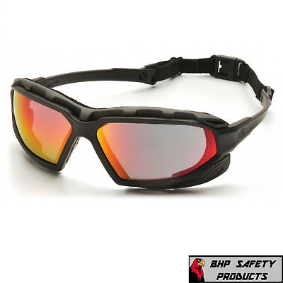 Pyramex Highlander Xp Safety Glasses Sky Red Mirror Anti-fog Lens Z87 Sbg5055dt