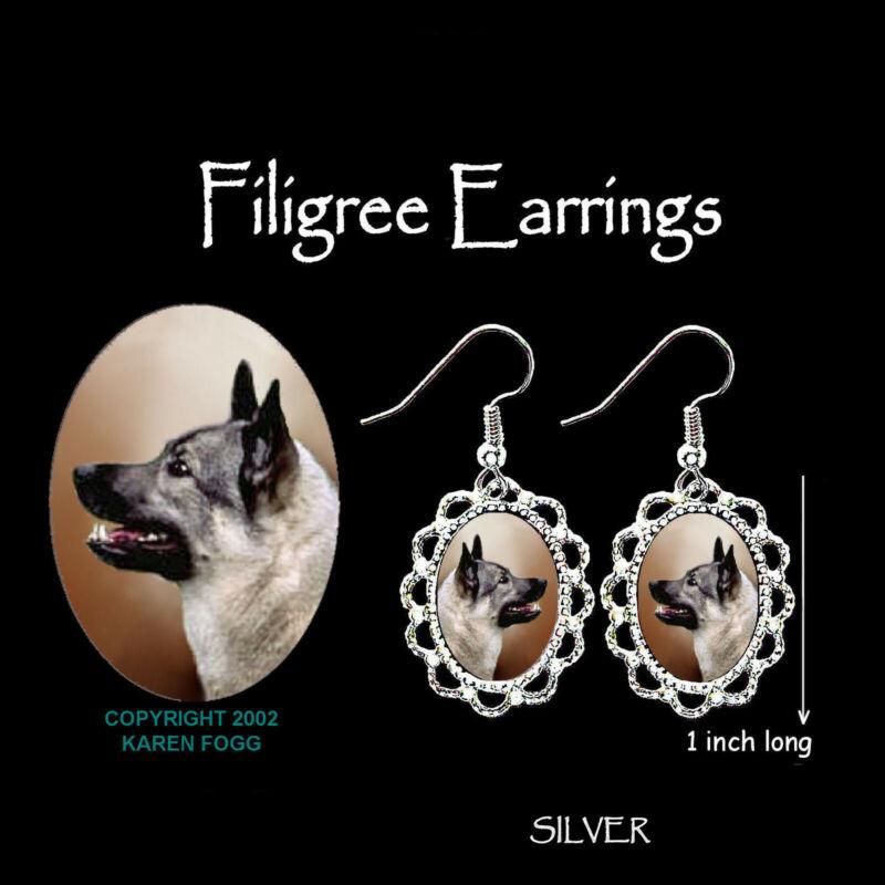 NORWEGIAN ELKHOUND - SILVER FILIGREE EARRINGS Jewelry