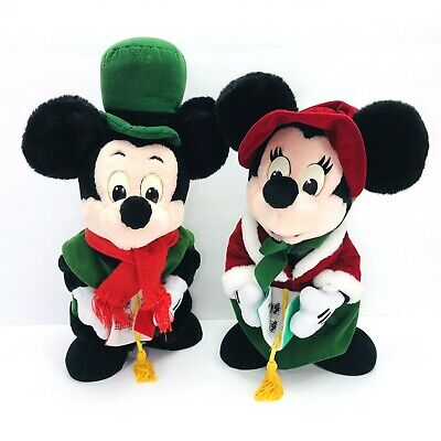 Disney Mickey & Minnie Mouse Christmas Carolers Victorian Plush Vintage *READ*