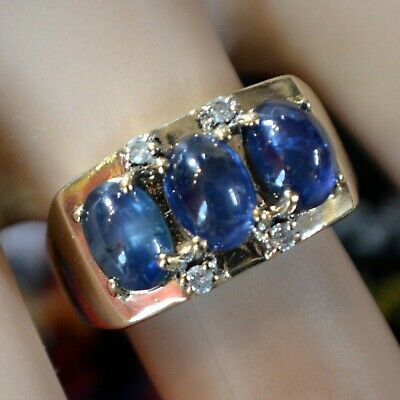 9 ct GOLD second hand diamond & sapphire ring
