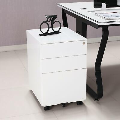 Office Under Desk 3 Drawer File Cabinet Pedestal Mobile Printer Cart Rolling