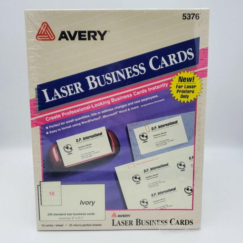 "Avery Laser Microperforated Business Cards, 2"" x 3 1/2"", Ivory, Pack Of 250"
