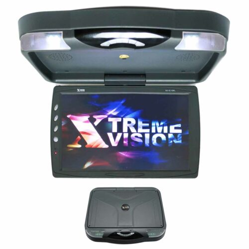 """NEW XtremeVsion 15.1"""" TFT LCD Car Roof Mount Flip Down DVD SD Monitor  IR -Grey"""