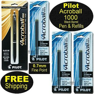 Pilot Acroball 1000 Pen Refills Black Pen Barrel. Black Advanced Ink 0.7mm