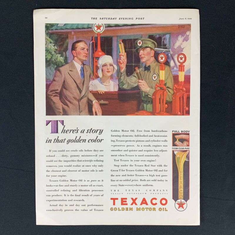 1929 TEXACO GOLDEN MOTOR OIL Vintage Original Magazine Print Ad Decor 1920s 14""