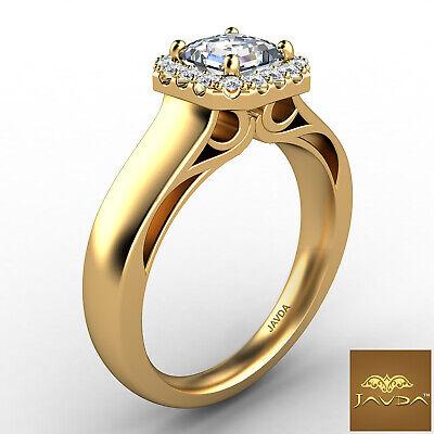 Asscher Diamond Engagement GIA H VVS2 18k White Gold Halo Pave Set Ring 0.7Ct 6