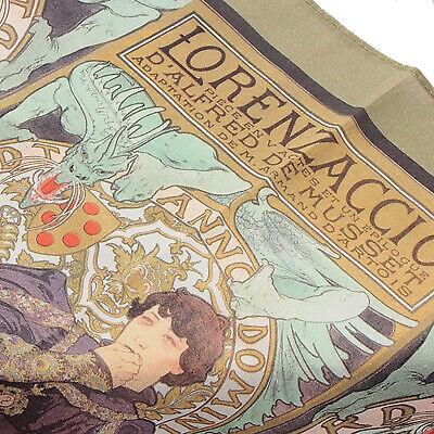"Art Nouveau Khaki Green 17"" Handkerchief Scarf combo Alphonse Mucha Lorenzaccio"