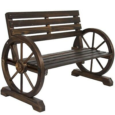 Used, Wood Garden Bench Patio Wagon Wheel Seat Rustic Wooden Chair Outdoor Seating  for sale  USA